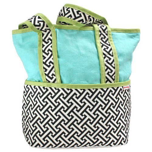 Hoohobbers Tote Diaper Bag, Maze Black