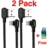 (2 Pack + iPhone Bag) USB 90° Right Angle Design For Gaming iPhone LED Lightning Nylon Braided Sync Charge USB Data 6FT/1.8M Cablr For iPhone/iPad Pro/Air ,iPad mini,iPod (6FT Black) (Color: 6FT Black)