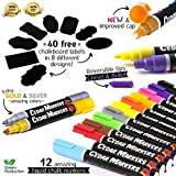 Cedar Markers Liquid Chalk Markers - 12 Pack With Bonus 40 Chalkboard Labels - Amazing Neon Color Pens Including Gold And Silver Ink. Reversible Bullet And Chisel Tip And A Brand New Revolutionary Cap.