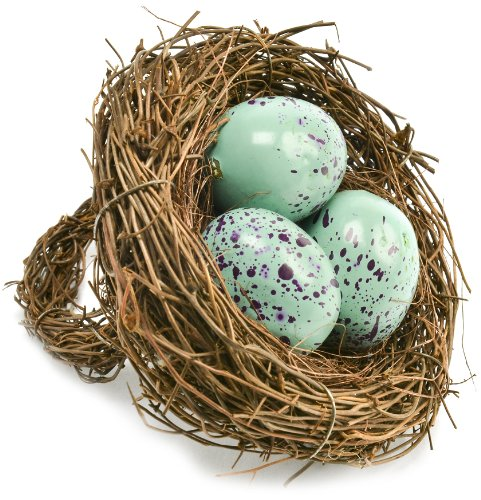 Caffco International Birdnest Napkin Rings with Blue Eggs, Set of 8