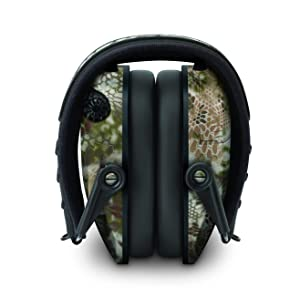 Walkers Razor Slim Electronic Hearing Protection Muffs with Sound Amplification and Suppression and Shooting Glasses Kit (Kryptek Camo) (Color: Kryptek Camo)