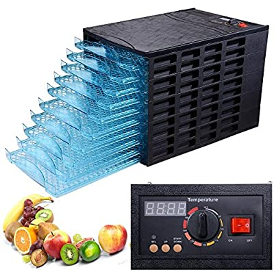 Black 630W 10 Tray Electric Commercial Home Dehydrator Digital Timer Jerky Fruit Vegetable Food Dryer by Yescom