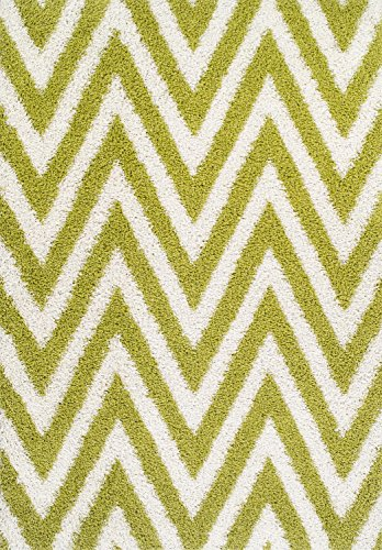 Lime Green Rug Shag Design 8-Foot 2-Inch X 10-Foot Chevron Stripes Carpet