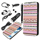 Pandamimi ULAK(TM) PU Leather Folio Case Cover for Samsung Galaxy Note 2 N7100 + Headphone/ Earphone Caps/ USB Cable/ Car Charger/ Stylus/ Earphone splitter cable (1 in 2 out)/ Fishbone Shape Earphone Cord Winder Newest 7 in 1 (OVERDOSE)