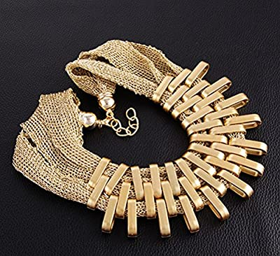 SunIfSnow Exaggerated Metallic Necklace Earring Two Sets