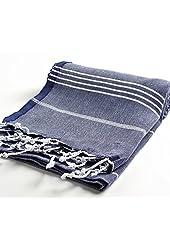 "Cacala 100% Cotton Pestemal Turkish Bath Towel, 37 x 70"", Dark Blue"