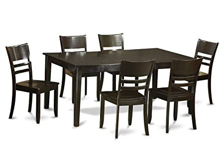 East West Furniture HELY7-CAP-W 7-Piece Dining Table Set, Cappuccino Finish
