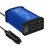 GELOO 300W Power Inverter DC 12V to 110V AC Converter with 4.8A Dual USB Ports Car Adapter (Color: Blue)