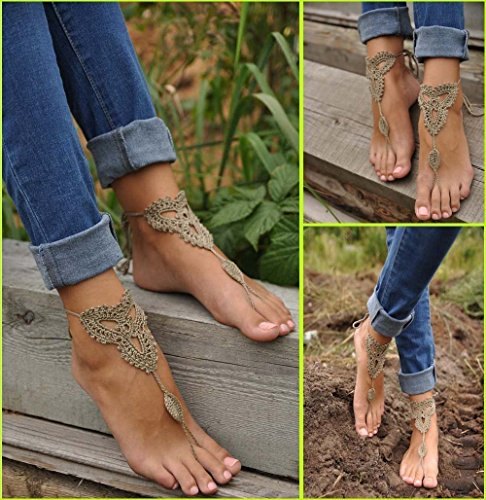 Winglife Crochet Black Barefoot Sandals,beach Pool,nude Shoes,foot Jewelry,footless Sandles,beach Wedding Jewelry,yoga Chain,anklet, Wedding Shoes, Beach Wedding, Summer Shoes, One Size Fits All (Beige)