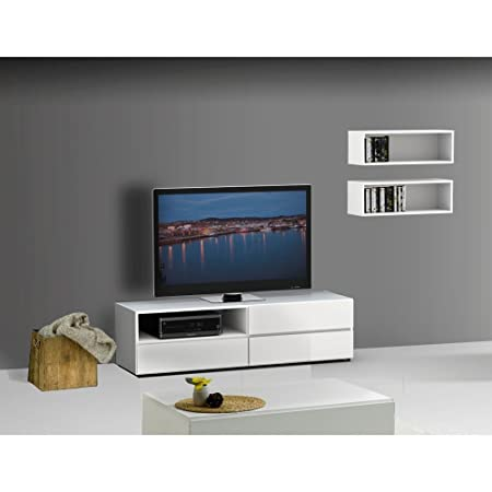 Modern White TV Stand Set With Wall Rectangles FMP25163