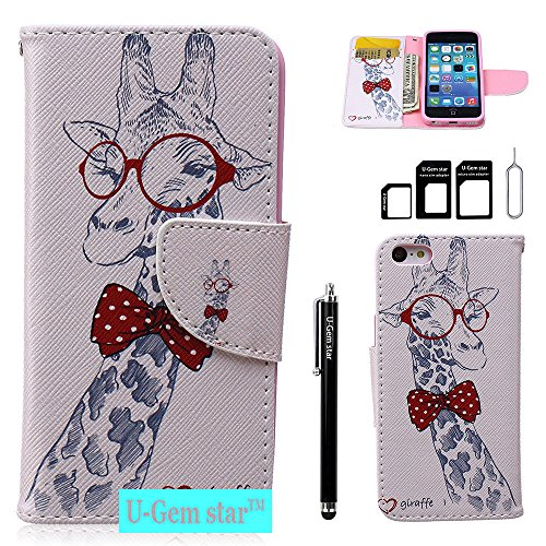 iPhone 5C Case,U-Gem star Deluxe PU Leather Folio Wallet Case Cover for Apple iPhone 5C,with SIM Card Adapter Kit+Screen Protector+Black Stylus (Giraffe) (I Phone 5c Cases Gems compare prices)