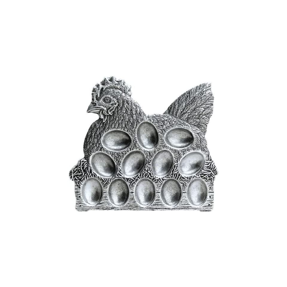 Pack of 2 Classic Hand Crafted Statesmetal Chicken Egg Serving Plates 10