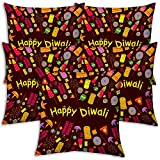 Best Festival Gifts Diwali Christmas New Year Set Of 5 Brown Fire Crackers Abstract Art Printed Polyester 12X12...