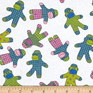 Flannel Sock Monkeys White Fabric