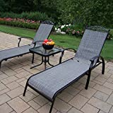 Oakland Living Cascade Sling 3-Piece Black Chaise Lounge Set with 2 Chaise Lounges and 20-Inch End Table