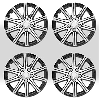 "14"" 10 Spikes Silver Hubcap Covers with Black Rim Brand New Set of 4 Pieces 528"