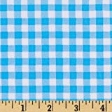 Oil Cloth Gingham Light Blue Fabric