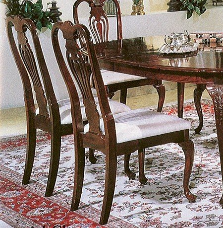 Black Friday Set Of 2 Cherry Finish Wood Queen Anne Style Dining Chairs Sale