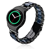 Gear S2 Bands - V-MORO Unique Black Polished Stainless Steel S2 Band Strap Men Women Replacement with Blue Resin Wristband Bracelet for Samsung Gear S2 SmartWatch SM-R720/SM-R730 (Color: Black+Blue)