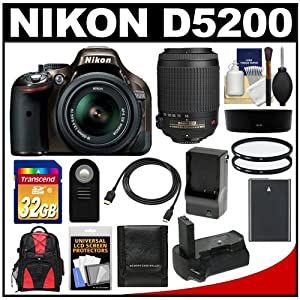 Nikon D5200 Digital SLR Camera & 18-55mm G VR DX AF-S Zoom Lens (Bronze) with 55-200mm VR Lens + 32GB Card + Backpack + Grip + Battery & Charger + Filters Kit