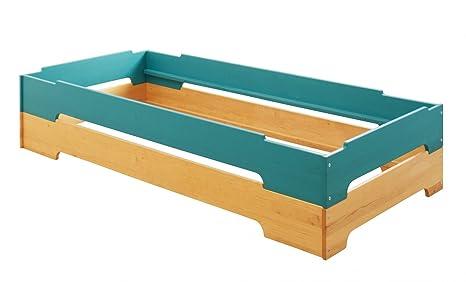 BioKinder 24336 2er Set Kai Stapelbett 90x200 cm Erle blau lasiert