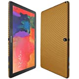Skinomi TechSkin - Samsung Galaxy Note PRO 12.2 Screen Protector + Carbon Fiber Gold Full Body Skin / Front & Back Premium HD Clear Film / Ultra High Definition Invisible & Anti Bubble Crystal Shield