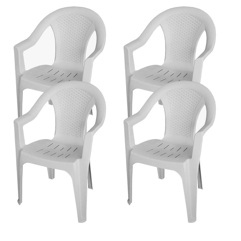 4 Stück Stapelstuhl Rattan Look Gartenstuhl Gartensessel Kunststoff Balkonmöbel Terrassenmöbel - Weiß
