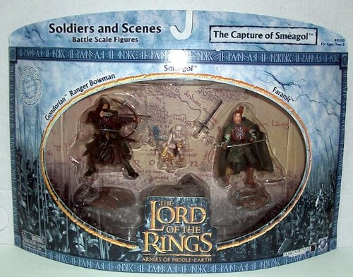 2004 - New Line / Play Along - Lord of the Rings : Armies of Middle Earth - The Capture of Smeagol with Faramir / Smeagol / Gondorian Ranger Bowman - Soldiers & Scenes - Battle Scale Figures - Out of Production - Limited Edition - Collectible - 1