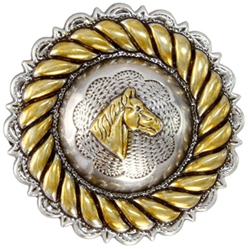 Western Antique Silver Concho Rope Horse Head, 1 1/4""