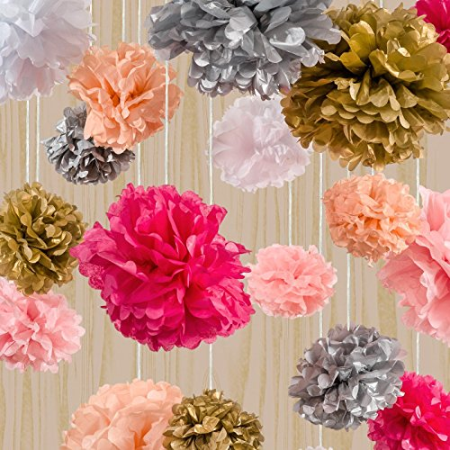 the marsians tissue paper flowers set of 18 pom poms garlands happy birthday banners