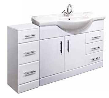 1350mm High Gloss White Bathroom Furniture Set - Vanity Cabinet Basin Unit & 3 Drawer Cupboard