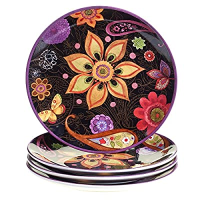 Certified International Coloratura Assorted Design 11-inch Ceramic Dinner Plates (Pack of 4) | Hand-Painted Ceramic Dinnerware | Microwave Safe for Easy Cleaning and Reheating