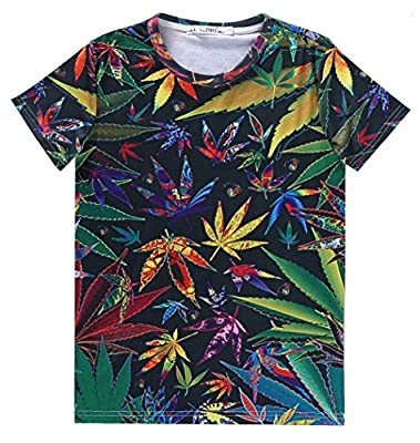 GLucky men t shirt cannabis hemp weed leaf floral t shirt