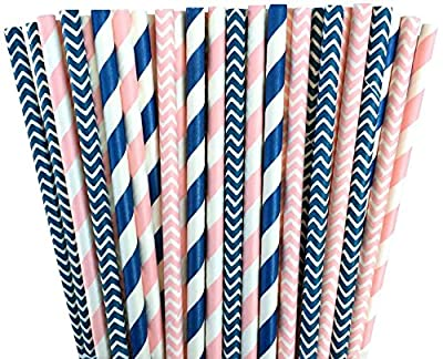 Pink and Navy Blue Chevron and Stripe Paper Straws -Birthday Wedding or Baby Shower Party Supply 100%Biodegradable 7.75 Inches Pack of 100