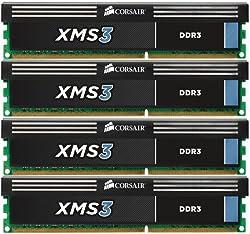 Corsair XMS3 16GB (4x4GB)  DDR3 1333 MHz (PC3 10666) Desktop Memory (CMX16GX3M4A1333C9)