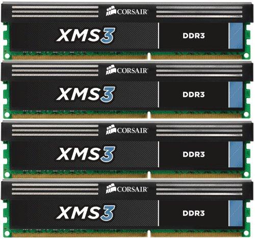 Corsair CMX16GX3M4A1333C9 XMS 16GB (4x4GB) 1333MHz CL9 DDR3 Four Memory Modul...
