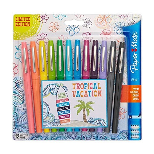paper-mate-flair-felt-tip-pens-medium-point-limited-edition-tropical-assorted-colors-12-count