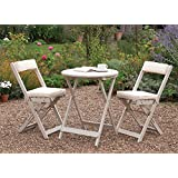 PATIO BISTRO SET FOLDING GARDEN TABLE AND CHAIRS FOLDING WITH CUSHIONS FSC HARDWOOD WHITE OILED FINISH