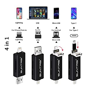 suntrsi TF/SD Card Reader Compatible with iPhone/OTG Android/Computer, Micro SD Card Reader Compatible with iPhone/iPad Charging,Compatible to SD Card Camera Adapter (Color: black)