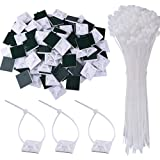 AUSTOR 100 Pack Zip Tie Mount White Adhesive Zip Tie Mounting Base (1.1
