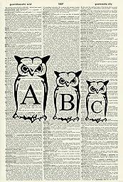 OWL ART PRINT - NURSERY ART PRINT - ALPHABET ART PRINT - ANIMAL ART PRINT - WILDLIFE ART PRINT - NATURE ART PRINT -VINTAGE ART - Illustration - Vintage Dictionary Art Print - Wall Art 472D