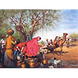 "Dolls Of India ""Rajasthani Village Well"" Reprint On Paper - Unframed (91.44 X 58.42 Centimeters)"