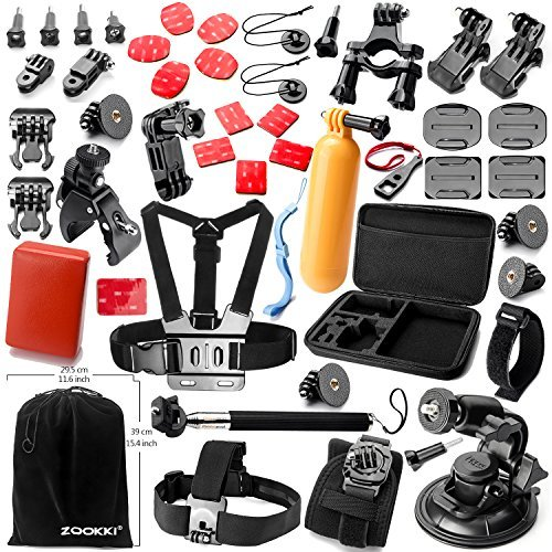 Zookki Essential Ultimate Combo Accessories Bundle Kit for Gopro Hero 4 3+ 3 2 1 Black SIlver Accessory Kit for Gopro 4 3+ 3 2 1 and SJ4000 SJ5000 SJ6000, Sports Camera Accessory Set