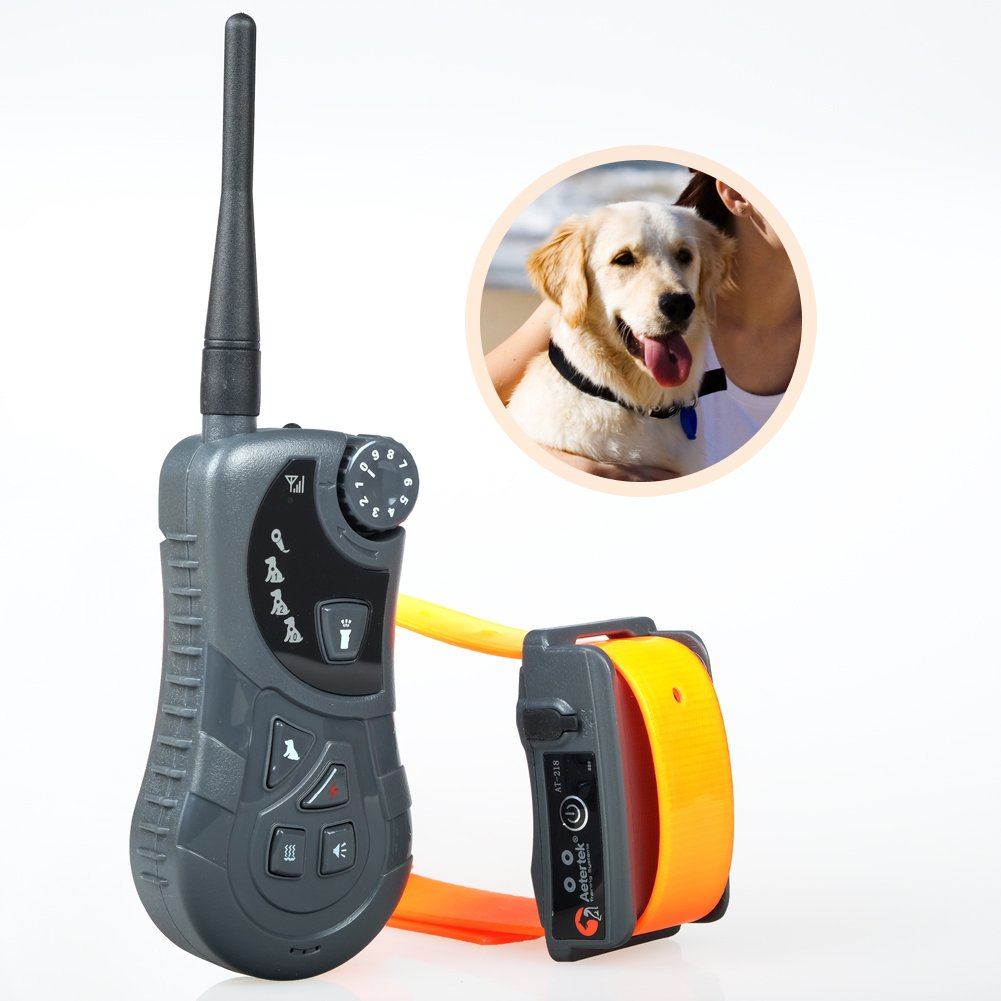 Aetertek AT-218 Submersible Remote 550M 1 Dog Training Trainer Pet Shock Control Collar With Auto Anti Bark Feature free shipping 100lv level 300 meter electronic shock vibra lcd display remote control pet dog training collar 998d for 1 dog