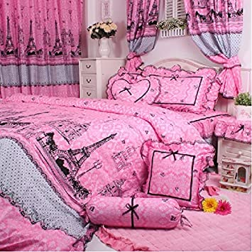 diaidi fadfay parure de de lit motif tour eiffel rose rose 4 pi ces queen size cuisine. Black Bedroom Furniture Sets. Home Design Ideas