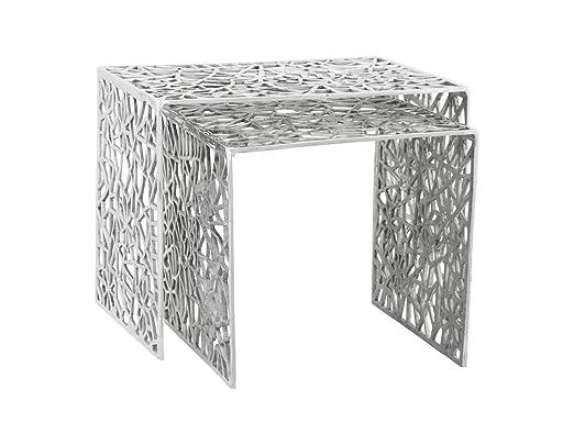 Kokoon DK00390AL Biko Table d'Appoint Métal Argenté 39 x 50 x 39 cm