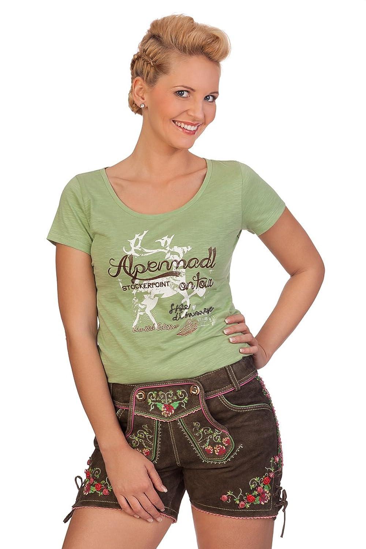 Trachten Damen Lederhose kurz – RÖSLEIN – braun online bestellen