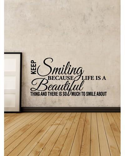Ambiance Sticker Vinile Adesivo Smiling Is Beautiful Nero