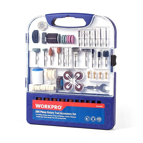 WORKPRO Rotary Tool Accessories Kit, 200-piece in Compact Case, 1/8-inch Diameter Shanks, with 4pc Collets, Universal for Major Brands