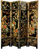 Finest Oriental Décor - 6ft. Four Panel Four Seasons Ming Black Lacquer Floor Screen